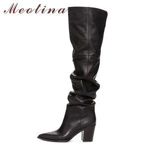 Meotina зима над сапогами на коленях женщины натуральные натуральные кожа толстые высокие пятки бедра высокие ботинки плиссированные длинные туфли дамы падение LJ201214