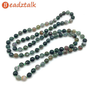 Natural Stones Beads Long Knotted Necklaces 80cm 32 inch Necklace 8 mm Bead Crystal Jaspers Good Quality Hand Made