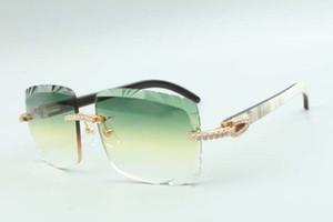 2021 최신 스타일의 천연 혼합 버팔로 뿔 사원 선글라스 3524020, 렌즈 미디엄 다이아몬드 안경, 크기 : 58-18-140mm