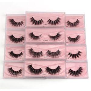 12styles 100% mink eyelash 3D mink hair natural thick 3d false eyelashes long cross eyelashes DHL free ship
