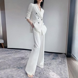 JuneLove Women Autumn Winter Fashion Business Pant Suits Uniform Formal Jacket And Long Pant Blazer Set 2 Two Pieces Suits