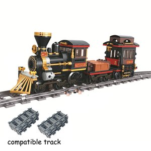 Klasik Buhar Tren Şehir 473 + ADET Teknik Yapı Taşı Enlighten Raylı Tuğla Çocuklar Için Uyumlu Leduo Marka Noel Hediyesi X0102