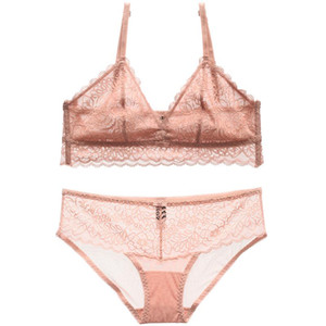 Summer ultrathin cup sexy ladies sexy lingerie sets French full lace transparent women underwear set girls sleep clothes