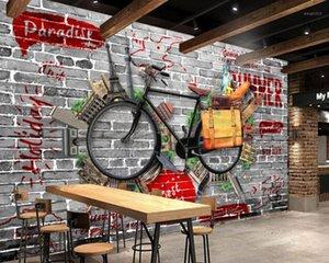 Envío gratis retro vintage bicicleta bar ktv pared personalizado 3d sala de estar dormitorio papel tapiz hotel decorativo mural con buen precio1