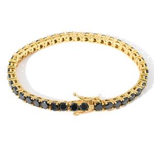 Haute Qualité Jaune Blanc Gold plaqué 4mm 7 / 8inch Noir CZ Tennis Bracelets Chaînes Liens pour hommes Femmes Nice cadeau