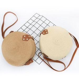 Retro Style Straw Woven Messenger Bag Makeup Storage Rattan Beautiful Round Shape Women Crossbody Storage Bag