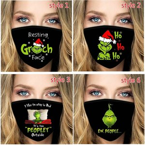 2020 Green Grinch Face Mask 3D Digital printing Dustproof Comfortable Breathable Outdoor Mask Reusable Washable Support Winter HH9-3624