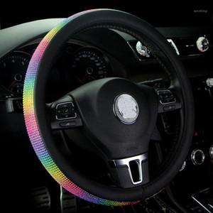 عجلة القيادة يغطي قوس قزح غطاء ladycrystal الراين الفتيات سيارة عجلة القيادة حالة ليوبارد للنساء الماس اكسسوارات السيارات 1
