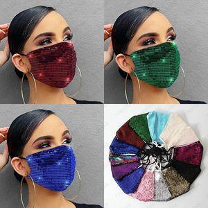 Face Mask Fashion Lady Salon BlingBling Paillette Sequin Designer Luxury Mask Washable Reusable Adult Mascarillas Protective Adjustable rope