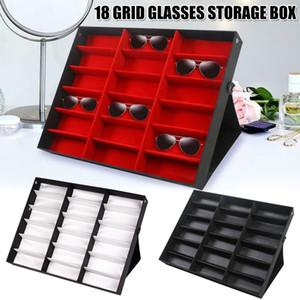 Newly 18 Grids Eyeglass Sunglasses Glasses Storage Display Box Holder Case Organizer Z1123