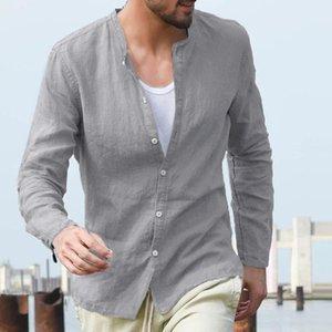 2020 Summer Men's Baggy Cotton Linen Solid Button Long Sleeve Retro Tops Blouse hawaiian shirt camisas hombre manga larga
