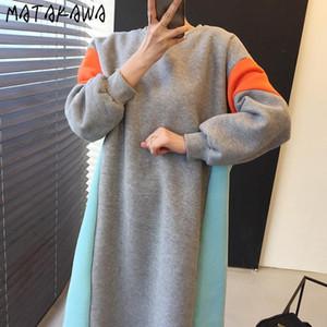 Matakawa Stitching Contraste Color Flojo con capucha Más Velvet Cálido Sudadera Vestido Mujeres Otoño e Invierno O-Cuello Mujer Vestidos