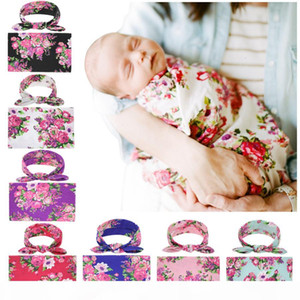 Newborn Swaddling Blankets Bunny Ear Headbands Set Swaddle Photo Wrap Cloth Floral Peony Pattern Baby Photography Tools RRA214STS