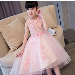Charming Pink Flower Girl Dresses Wedding Party Dress Ball Gown Princess Pageant Kids Formal Occasion Children Dress