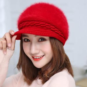 Hot sale knit hat fashionable cap lady Beret hat rabbit wool hat