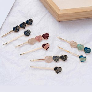 Korean Love Heart Hair Pins Accessories for Women Girl Fashion Romantic Oil Painting Heart Gold Hair Jewelry 2pcs Clip Gift
