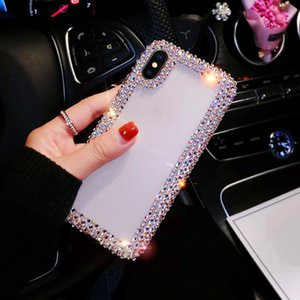 Luxury bling bling diamond edge phone back case for iphone11pro max XSmax edge drilling mobile phone shell for samsung s8 s9