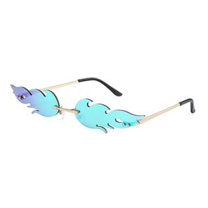 Fire shape Sunglasses Fashion Women smaill Size Frameless Cat eye Mirror Sun Glasses for women Lady Female Brand Designer