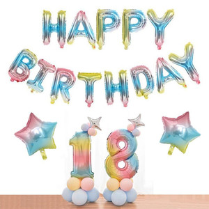 30 Zoll Buchstaben Nummer Ballons Partei Rainbow Ballon Happy Birthday Party Dekoration Folie Ballons Jubiläumsbedarf