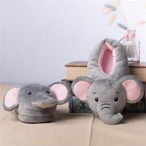 Funny Elephant Cartoon Plush Kids Winter Warm Soft Indoor Shoes Home Slippers Boys Girls Animals Cotton ShoesZ1127