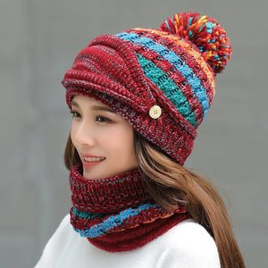 Mulheres de inverno Mantenha o chapéu de lã quente esportes ao ar livre À prova de vento chapéu de malha à prova de orelha Proteção de orelha Cap Cachecol 3 pcs Set Party Hats Dha2734