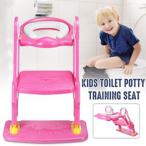Portable Pink Baby Potty Training Seat Children's Potty With Adjustable Ladder Infant Toilet Seat Toilet Training Folding Seat LJ201110