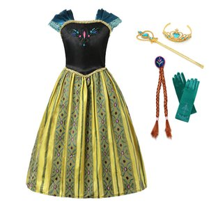 Princess Girls Anna Elsa Coronation Party Cosplay Costume With Crown Wig Suit Embroidery Summer Dress Halloween Dress Up Z1127