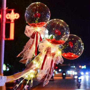 Led Luminous Balloon Rose Bouquet Helium Transparent Ballons Wedding Birthday Party 2021 Happy New Year Christmas Ornaments