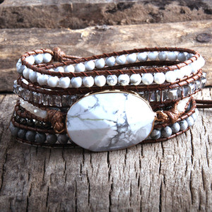 RH Fashion Boho Bracelet Jewelry Mixed Natural Stones Crystal and Stone Charm 5 Strands Women Wrap Bracelets DropShipping Y1119