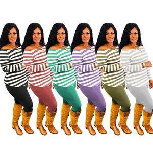 Kadın Eşofman Kazak Kazak Pantolon Kıyafet Iki Parçalı Giyim Seti Tasarımcılar Çizgili Baskı Üst Legging Pantolon Suit S-3XL E122211