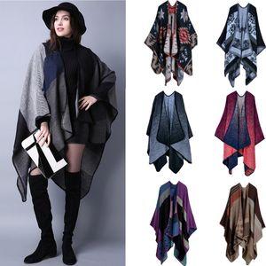 Eco-Friendly Women Scarves Winter Pashmina Poncho V-neck Cashmere Cardigan Lady Warm Cape Shawl Blankets Cloak Coat Sweater 18 Colors