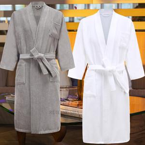 Star Hotel 100% Cotton Sweat Towel Bath Robes Men Plus Size Winter Kimono Warm Bathrobe Mens Terry Sleepwear Women Dressing Gown 201109