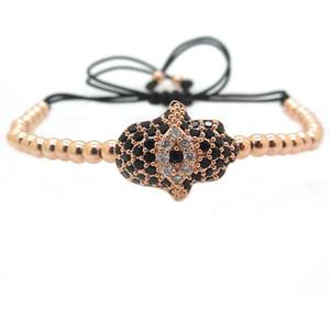 Fashion Men Rose Gold Hamsa Bracelet,Pumped Eye Evil Eye Connector & 4mm Round Bead Braided Macrame Bracelet For Men Women