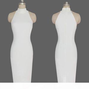 2016 Hot New White Kim Kardashian Evening Celebrity Dress In Store Real Image High Neck Sleeveless Prom Dress Tea Length Elegant Party Gown
