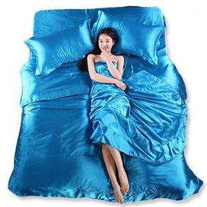 مجموعات الفراش بالجملة أوراق الحرير الصين أغطية السرير الكتان القطن 4PCS من الأزرق حاف غطاء ملاءات سادة مجانية 1