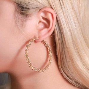 유럽 대형 서클 트위스트 귀걸이 후프 합금 원형 직조 스터드 귀걸이 여성 비즈니스 파티 골드 귀 드롭 장식품