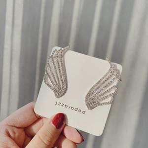 2019 New Arrival Geometric Crystal Women Trendy Stud Earrings Korean Fashion Earrings With Wing Ear Earrings Ear clip Jewelry