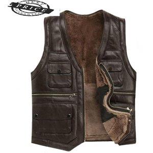 Мужские жилеты кожаные полные овчины мужские роскоши Gilet мотоцикл жилет для мужчин Карманы Черный коричневый поддельный пальто 22257-6