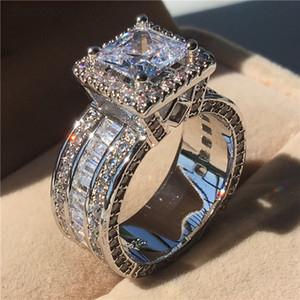 Choucong Vintage Ring Princess Cut 3ct 5a Zirkon Sona CZ 925 Sterling Silber Engagement Hochzeit Band Ringe für Frauen Männer Geschenk Z1121
