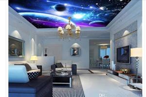 Custom Any Size 3D ceiling large custom photo zenith mural wallpaper Fantasy Starry Universe Planet Living Room Ceiling Zenith Mural
