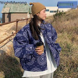 Puffer Cotton Padded Warm Bandana Jacket Winter Thick Paisley Bubble Coat Windbreaker Zipper Korean Fashion Loose Outfit Casual Z1211