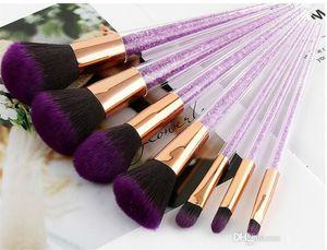 Newest 7pcs Purple Crystal Makeup Brushes With Diamond Makeup Brush Black Purple Brush Cosmetic Set Blusher Foundation free shipping