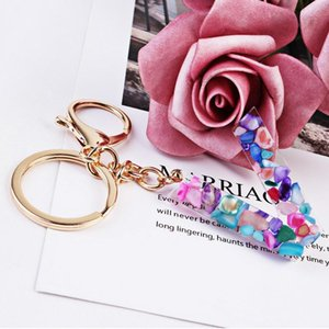 Hot Sale New 26 English Letter Keychain Resin Acrylic Key Chain Women Men Initial Name Pendant Car Key Ring Gift For Couples jllETo