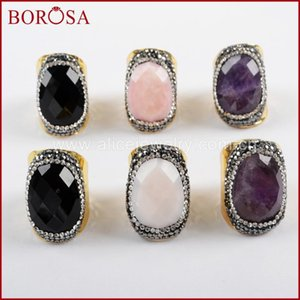 BOROSA 5 6PCS Oval Natural Multi-kind Faceted Stone Rings for Women Rhinestone Pave Black A-gate Crystal Druzy Ring JAB937