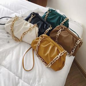 Цепные сумки на плечо для женщин 2021 роскошный сплошной цвет Color Cross Body Summer Bag Crossbody Сумка Путешествия Сумки Lady Party Clutch X1228