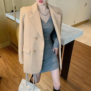 New Suits Female Vintage Autumn Notched Collar Plaid Women Blazer Breasted Jacket Casual Pockets Womens Suits Coat Blazers
