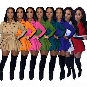 Desinger المرأة اللباس الأزياء ضئيلة معطف بلون مغاير تنورة سترة الخريف الشتاء طويلة الأكمام الأعلى السيدات زائد حجم الملابس