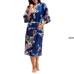 Ladies Sexy Silk Satin Long Robe Night Dress Woman Long Sleeve Nighties V -Neck Nightgown Robes Nightdress Sleepwear For Women O