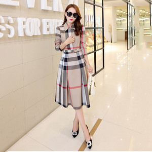 2021 spring and autumn new women's plaid dress long-sleeved A-shaped long autumn Korean version of the slim dress