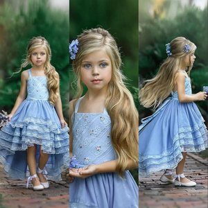 Setwell Spaghetti A-line Flower Girls' Dresses Sleeveless Pleated Tiered Tulle Lace Hi-Lo Blue Princess Pageant Gowns